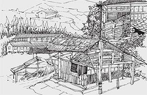 速写荒废木屋的画法
