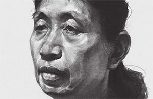 女性老年人素描头像怎么画