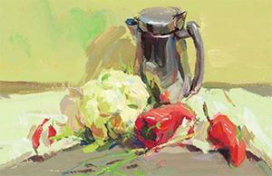 色彩不锈钢壶与蔬菜组合的画法