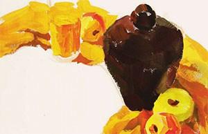 《色彩酒坛、玻璃杯与水果》作画步骤