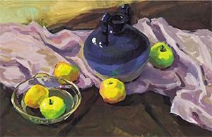 《陶罐、玻璃碗与水果》作画步骤