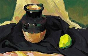 《色彩陶罐与梨》作画步骤