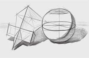 方锥穿插体、球体组合结构的画法