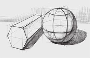 六棱柱体、球体组合结构的画法