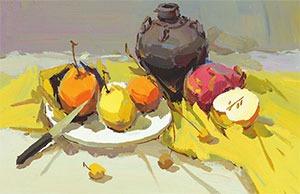 酒坛与水果色彩组合的画法