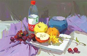 矿泉水瓶与水果色彩组合的画法