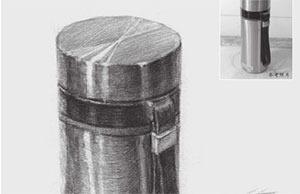 素描不锈钢杯的画法