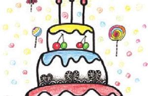 儿童美术装饰画:生日蛋糕的画法