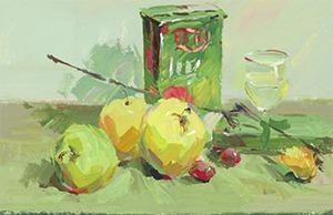 色彩牛奶盒与水果组合的画法