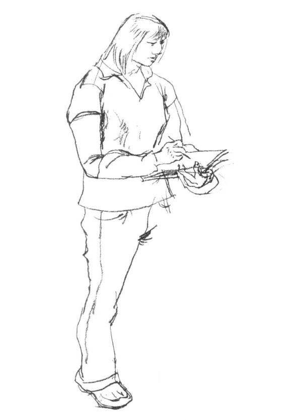 女站姿人物速写入门步骤图图三