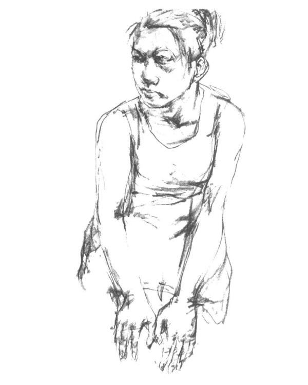 女坐姿人物速写入门步骤图三