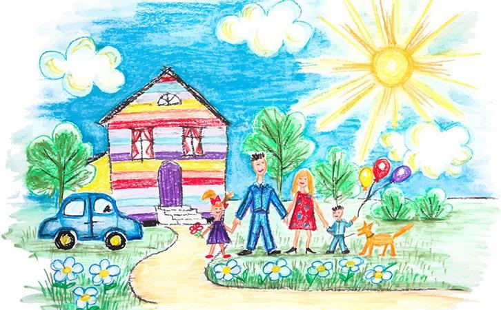 家庭儿童画