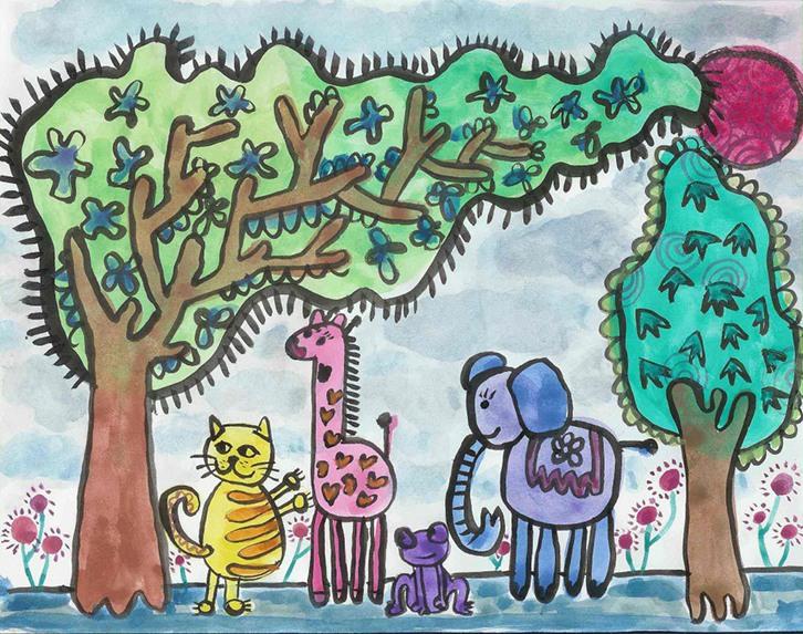 动物儿童画