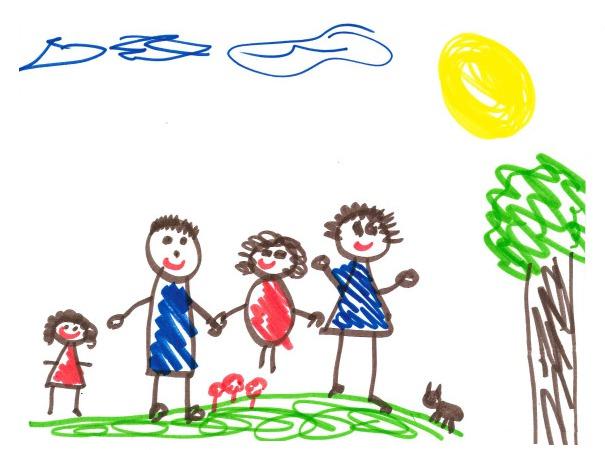 正常家庭的儿童绘画作品