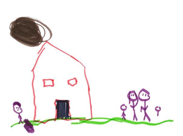 不正常家庭的儿童绘画作品