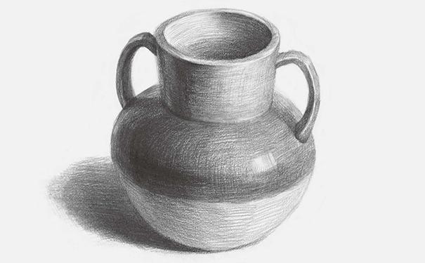 双耳素描陶罐的画法解析图