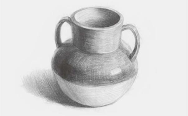 双耳素描陶罐图四