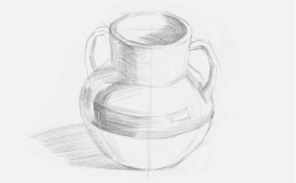 双耳素描陶罐图二