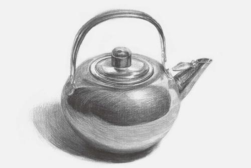 圆形素描不锈钢水壶