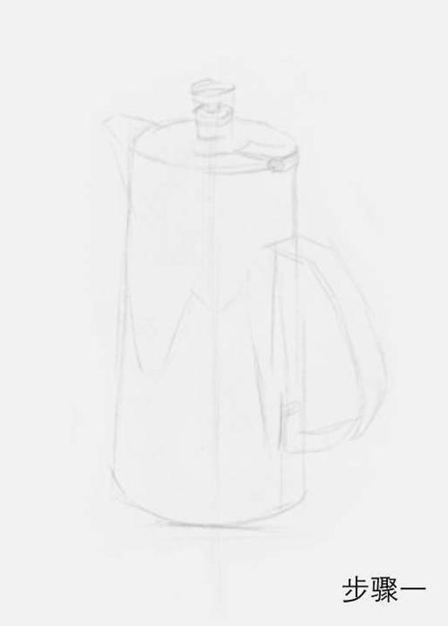 柱形素描不锈钢水壶步骤一