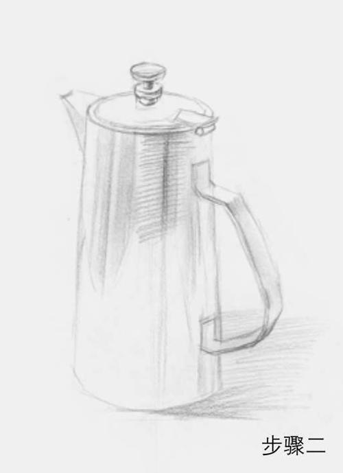 柱形素描不锈钢水壶步骤二