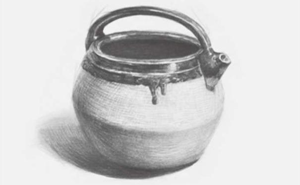 土陶壶素描图片步骤四