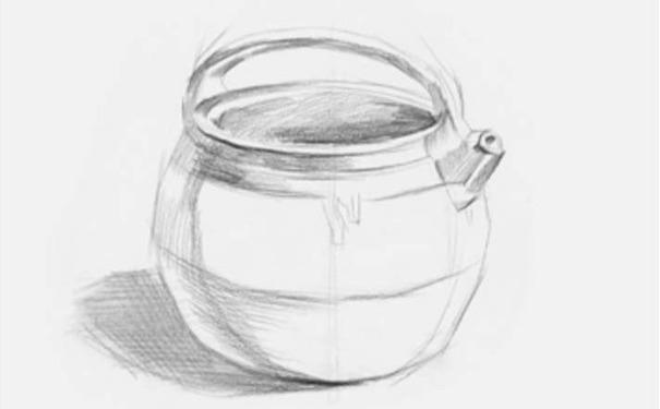 土陶壶素描图片步骤二