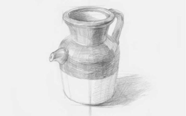 素描陶壶图片步骤三