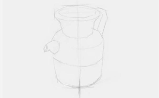 素描陶壶图片步骤一