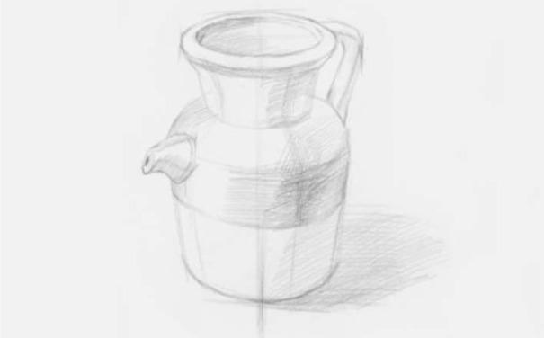 素描陶壶图片步骤二