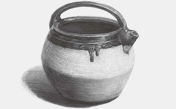 土陶壶素描图片