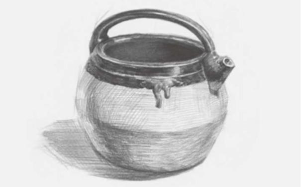 土陶壶素描图片步骤三