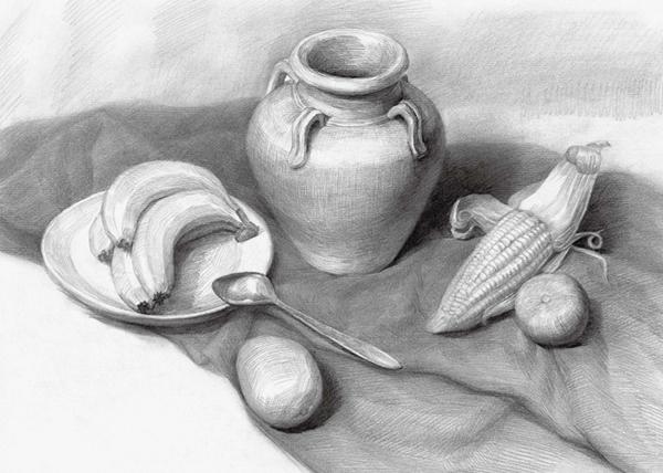 陶罐与水果组合素描图片
