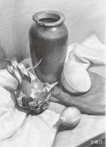 水果罐子静物组合素描步骤四