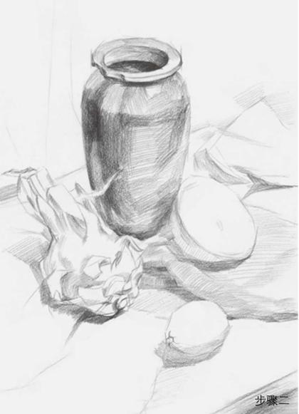 水果罐子静物组合素描步骤二
