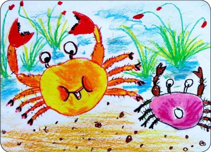 幼儿园大班美术活动教案「螃蟹横着走」