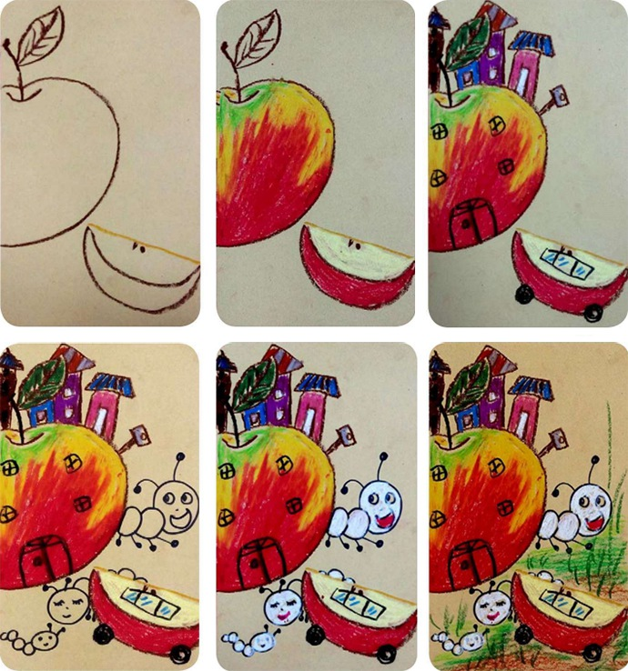 苹果绘画步骤