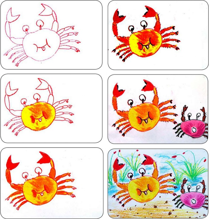 螃蟹作画步骤