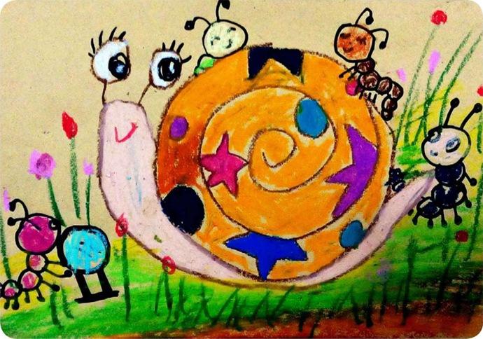 儿童绘画蜗牛图