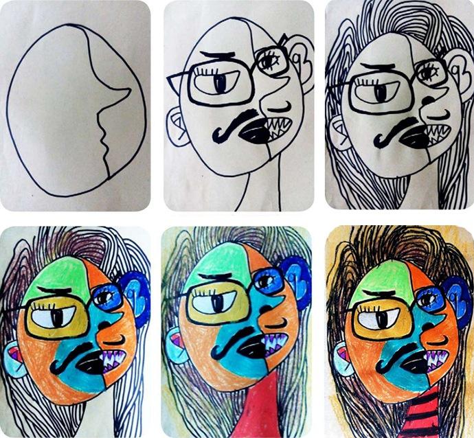 奇怪的人脸作画步骤
