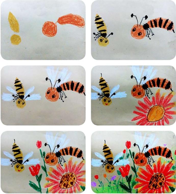 蜜蜂绘画过程