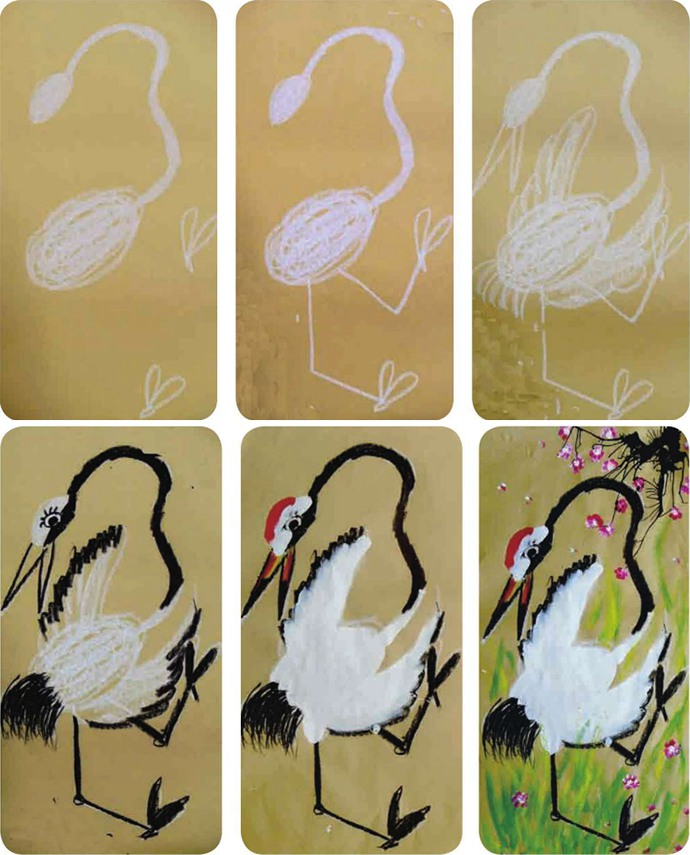 丹顶鹤绘画步骤图