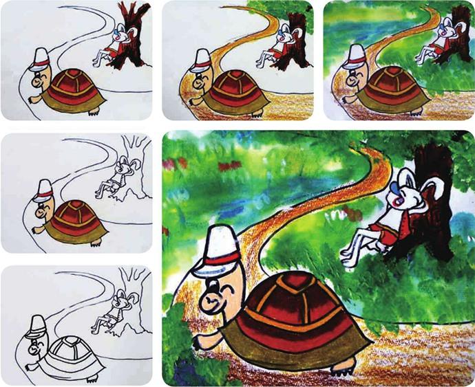 龟兔赛跑绘画步骤图