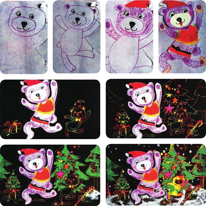 过圣诞的小熊绘画步骤
