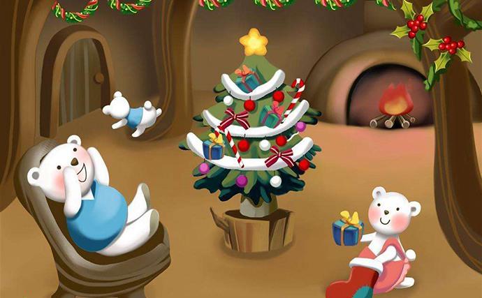 过圣诞的小熊