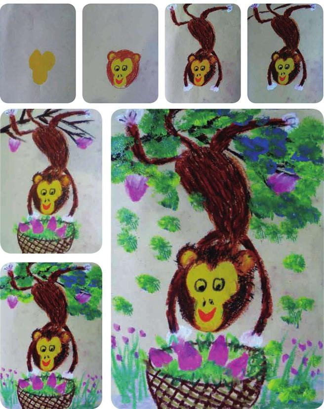 调皮的猴子绘画步骤图