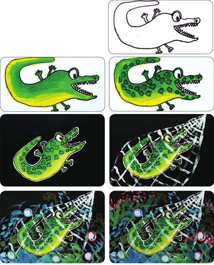 鳄鱼绘画步骤