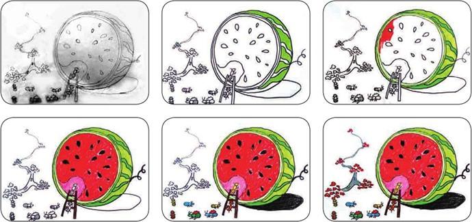 蚂蚁和西瓜绘画步骤图