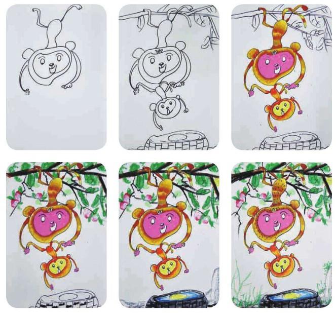 猴子捞月绘画步骤
