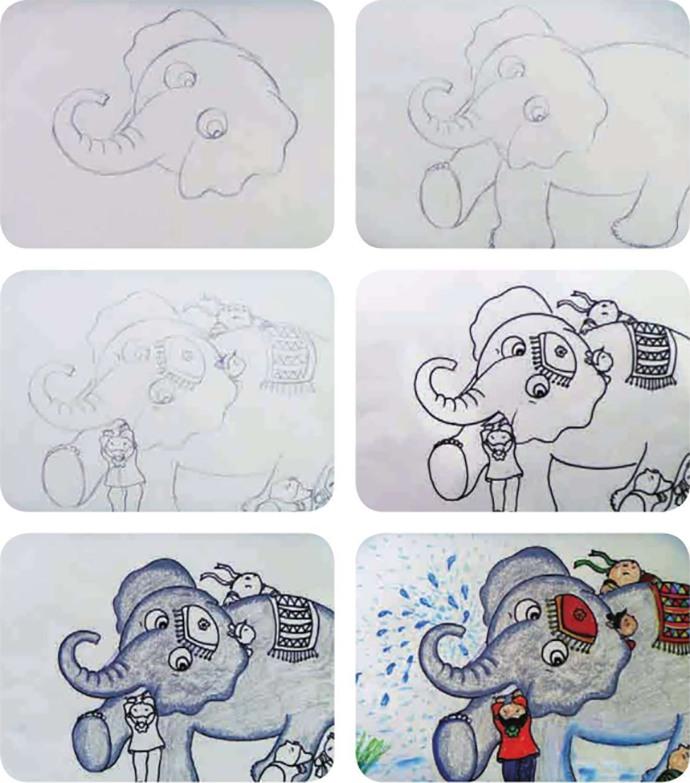 盲人摸象绘画步骤图